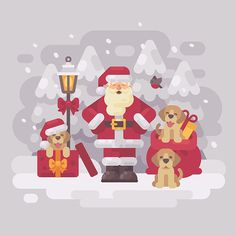 Set of Christmas vector illustrations and greeting cards