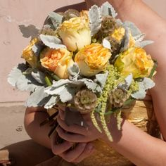 Roses, Scabiosa Pods, Dusty miller