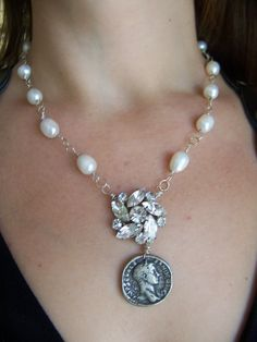 vintage repurposed jewelry earring necklace rosary rhinestone Coin Pearl Etruscan Medallion medal Handmade