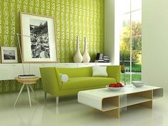 Sunbrella blog,This is an inspiration picture of how lime green can be used in a modern space.  yellow flowers, wood accent, black and white art photography.  Stunning and so very 2014