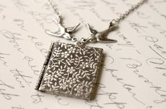 Forget Me Not - Vintage Silver Book Locket with Swooping Sparrows and Flowers Necklace