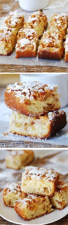 Cinnamon apples cake bars. Huge chunks of apples tossed in cinnamon and brown sugar! Super easy dessert!