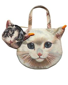 Amazon.com: LookbookStore Women Cute 3D Kitty Pussy Cat Head PrintedBag Purse Shoulder Bag Handbag Accompany With Small Bag: Clothing