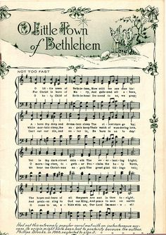 ♥ Sheet Music Printables for gift wrapping, or DIY Paper Projects .... O Little Town Of Bethlehem by raidensgrammie21, via Flickr