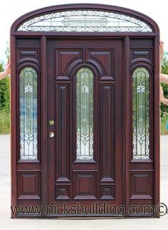 Front porch with a golden oak stain on a mahogany door for Home front door tint