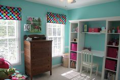 Molly's new paint ~ Sherwin Williams aqueduct ~ and her new desk.