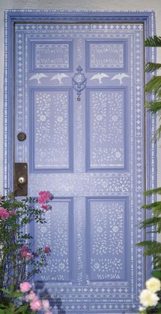 Love this! A beautiful DIY stenciled front door makeover using the Indian Inlay Stencil kit from Cutting Edge Stencils. http://www.cuttingedgestencils.com/indian-inlay-stencil-furniture.html