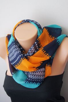 Turquoise orange color  Infinity Scarf Shawl by SpecialFabrics