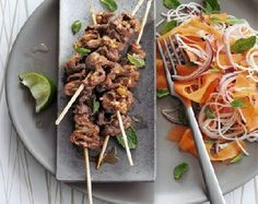 Low FODMAP Recipe - Lemongrass beef skewers with pickled carrot & noodle salad