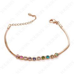 Shinning 18K Rose Gold Plated Colorful Swarovski Crystal Bangle Beautiful Bracelet B040R2