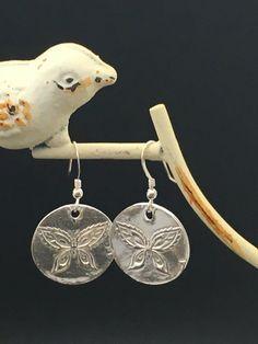 Imprinted Butterfly Earrings Fine Silver by AngelWearDesigns2013