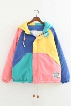 Women's Color Block Zip Placket Long Sleeve Winter Hooded Cotton Coat