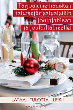 Tässä hauskassa istumajärjestysleikissä parien on tarkoitus löytää pöytäkavaljeerinsa yhdistämällä muutamia joululauluja ja kappaleiden nimet. Maksimissaan 16 parille. Hauskaa ajanvietettä joulun juhliin! Tilaa istumajärjestysleikki, täytä kassalla alennuskoodi ja saat tuotteen ilmaiseksi!  Alennuskoodi: JOULUPÖYTÄ Grape Vines, Table Decorations, Vineyard Vines