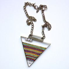 Multicolor Large Triangle Statement Necklace from B. POY & JO #necklaces #jewelry #accessories #statementjewelry www.bpoyandjo.com
