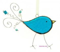Stained glass blue bird by zelma