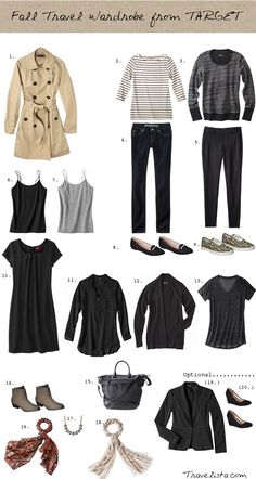 Autumn mini capsule wardrobe.  Like the booties, black loafers, and larger handbag.  Need black work pants, loafers, white blouse, handbag.