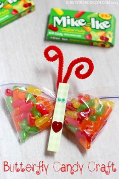"""DIY Crafts :DIY Butterfly : Butterfly Candy Craft-We hope all your birthday wishes """"fly"""" your way! Fun Crafts To Do, Cute Crafts, Bead Crafts, Crafts For Kids, Diy Crafts, Butterfly Kids, Butterfly Birthday, Butterfly Crafts, Candy Crafts"""