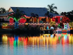 christmas interiors  in warm weather | warm tropical colors colorful lights bring a festive christmas feel to ...