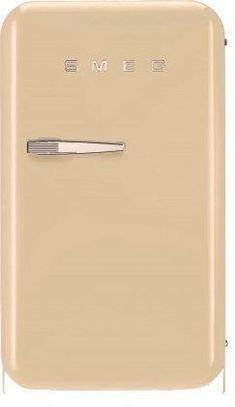 """Smeg FAB5URP 16"""" Compact 50's Retro Style Mini Refrigerator with 1.5 cu. ft. Capacity Absorption Cooling Automatic Defrost LED Internal Light and 2 Adjustable Shelves in Cream with Right Hinge"""