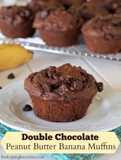 Gluten Free Double Chocolate Peanut Butter Banana Muffins from The Baking Beauties. ☀CQ glutenfree sweets treats snacks