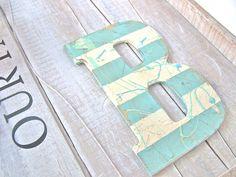 Beach Cottage Wall Letter B Shabby Aqua Vintage Beach HOUSE & NURSERY Decor