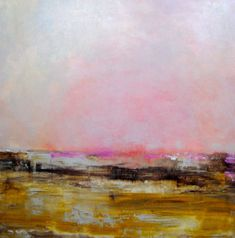 Abstract LANDSCAPE ORIGINAL painting-24x24 yellow by devikasart