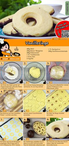 Taste the sweet vanilla rings. You can easily find the vanilla ring recipe video using the QR code :] The post Vanilla rings recipe with video simple cookie recipes appeared first on Dessert Platinum. Easy Cookie Recipes, Gourmet Recipes, Dessert Recipes, Cooking Recipes, Gourmet Food Store, Peanut Butter Cookie Recipe, Sweet Breakfast, Winter Food, Apple Recipes