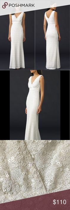 $269.00 Badgley Mischka Belle Carmen Gown $269.00 Badgley Mischka Collection Women's Belle Carmen Gown Winter White 6 fully lining new without tags never worn Badgley Mischka Dresses Maxi