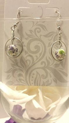 Japanese style floral dangle earrings
