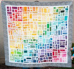 Finished Gradated Mod Mosaic Quilt