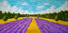 Lavender Field In Provence ORIGINAL ACRYLIC by MikeKrausArt