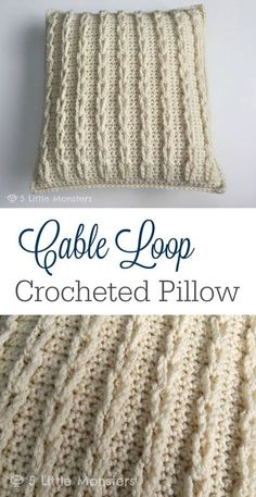 Cable Loop pillow, free pattern by Erica Dietz. This looks complicated but is *very* easy! Uses only SC, with chain stitches for the loops . . . ღTrish W ~ http://www.pinterest.com/trishw/ . . . #crochet