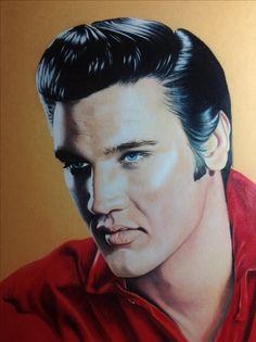 Portrait of Elvis Presley, coloured pencil on beige paper by Lydia Quayle