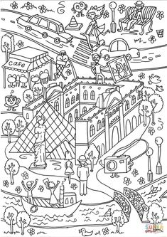 The Louvre Museum and the Seine River coloring page from Architecture category. Select from 31983 printable crafts of cartoons, nature, animals, Bible and many more.