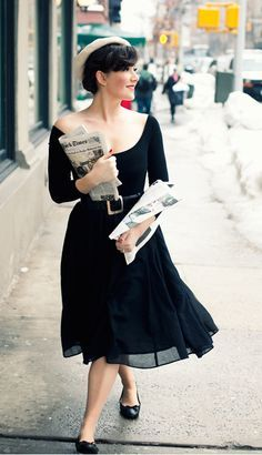A whimsical ballet fashion style in Paris! Love the hat and off shoulder leotard!