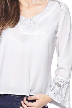 Blusa Estilo Boutique Cetim Renda Branco - Marca Estilo Boutique