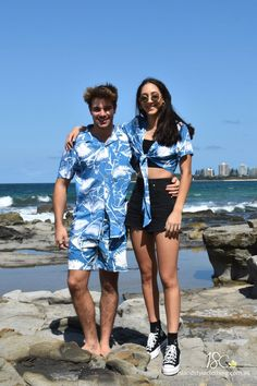 A Jaw-some Matching Couples Set - 'Jaws' Mens Shirt Shorts + Ladies Wrap Top. Perfect outfit for a music festival, luau or cruise