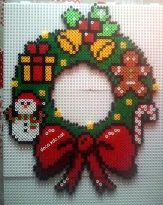 Christmas Perler Wreath.