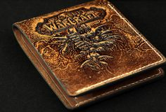 Handmade custom personalized WOW world of warcraft lich king Arthas carved leather  ID card short wallet  for wowers/men