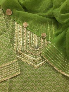 Got Patti neck design Champa lace Salwar Neck Designs, Kurta Neck Design, Neck Designs For Suits, Kurta Designs Women, Dress Neck Designs, Blouse Designs, Stylish Dresses For Girls, Stylish Dress Designs, Designs For Dresses