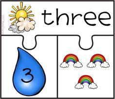 FREE Spring Rain Number Puzzle 0-10