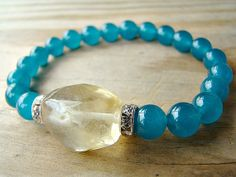 Jade and Quartz Stretch Bracelet / Teal by BeJeweledByCandi, $27.00