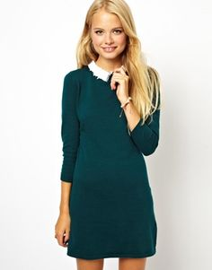 Image 1 of ASOS Dress With Lace Collar Detail