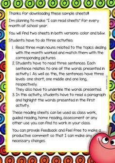 I CAN READ SAMPLE SHEETS FREEBIE AUGUST/SEPTEMBER COLOR/B&W - TeachersPayTeachers.com