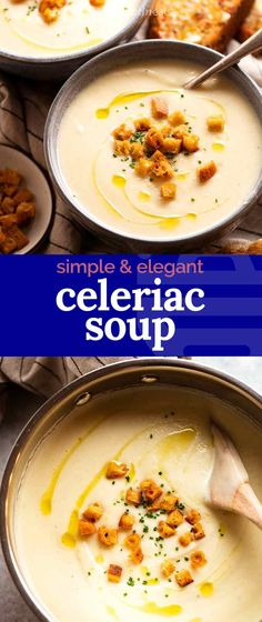 Wondering what to make with celeriac? Make Celeriac Soup! Beautifully creamy with an elegant, near pure-white colour, it also happens to be low-carb. It's perfect as a something-different first course for a dinner party or a cosy midweek dinner. It's so versatile! Celeriac Soup, Soup Recipes, Vegan Recipes, Cooking Twine, White Soup, Recipetin Eats, Carb Alternatives, Recipe Tin, Woks