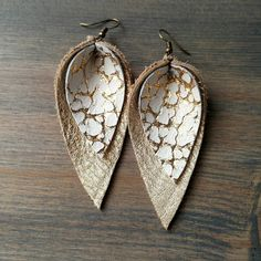 Layered Gold Upside-down Teardrop Leather Earrings Gold