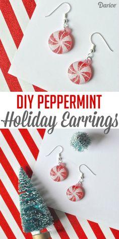 Easy Peppermint DIY Christmas Earrings