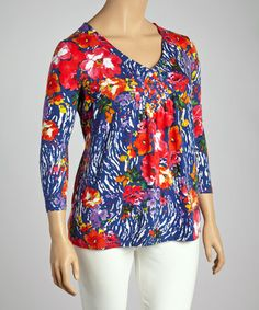 Look what I found on #zulily! Deep Sea Floral Tee - Plus by Caribbean Joe #zulilyfinds