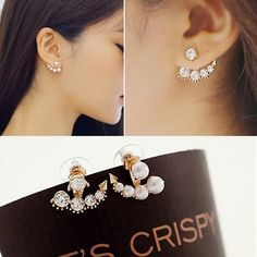 New arrival fashion beauty of  television dramas with Sarah seul set auger pearl stud earrings for woman