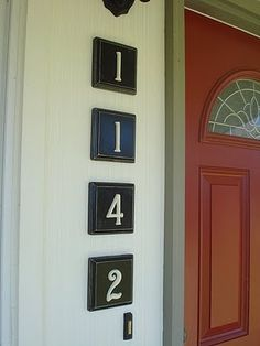 "They are just wooden squares from any craft store ($0.50 each) with metal house numbers I found at Shoppers Outlet for $2 each. These numbers were brass and spray painted Heirloom White. Put them up with finishing nails and use a sharpie to ""paint"" the nails black. Maybe could hang them with a wrought iron chain."